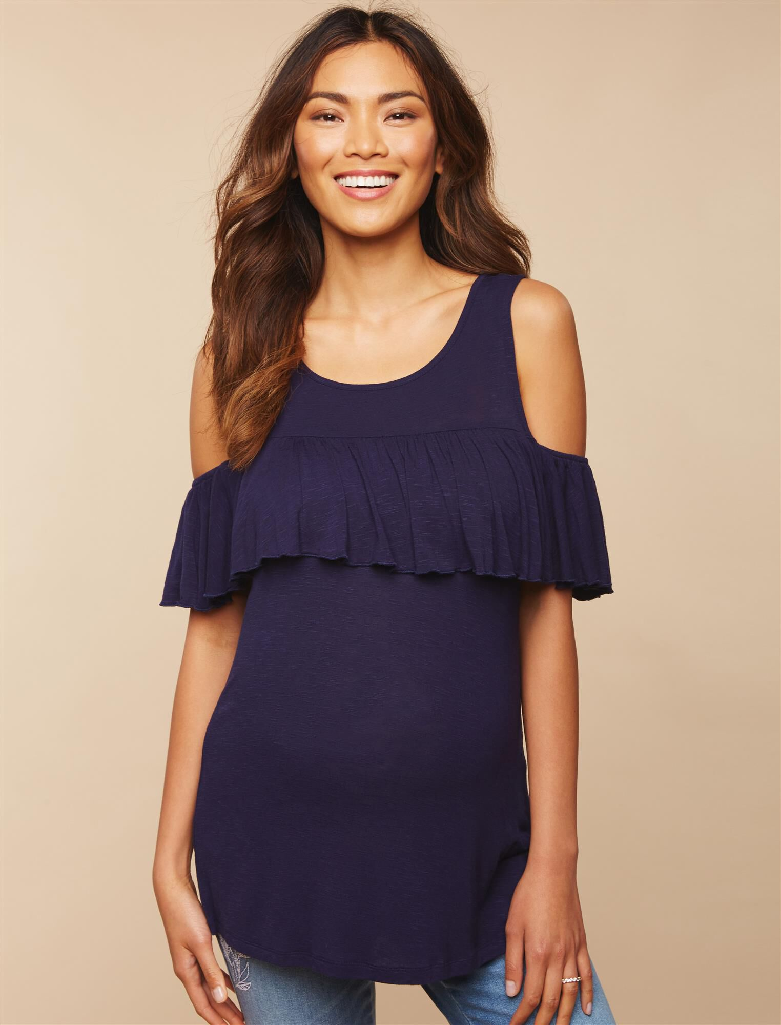 Ruffle Cold Shoulder Maternity Top