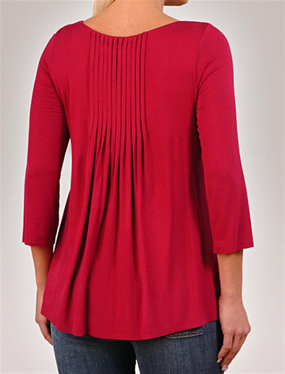 Pleated Maternity T Shirt, Cherry
