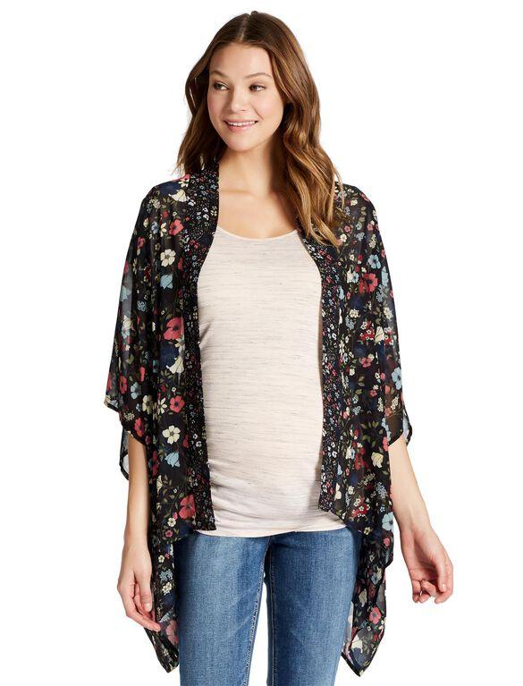 Jessica Simpson Hanky Hem Maternity Blouse, Floral Black