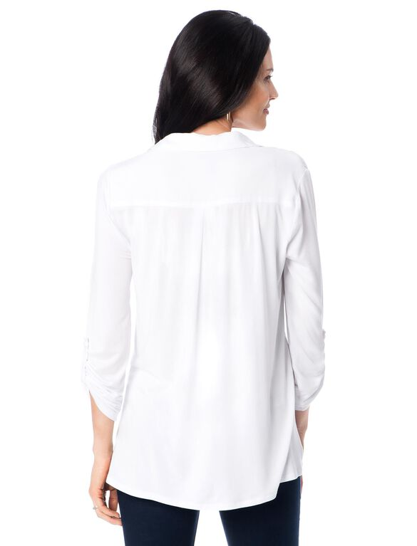 Hanky Hem Maternity Shirt, White