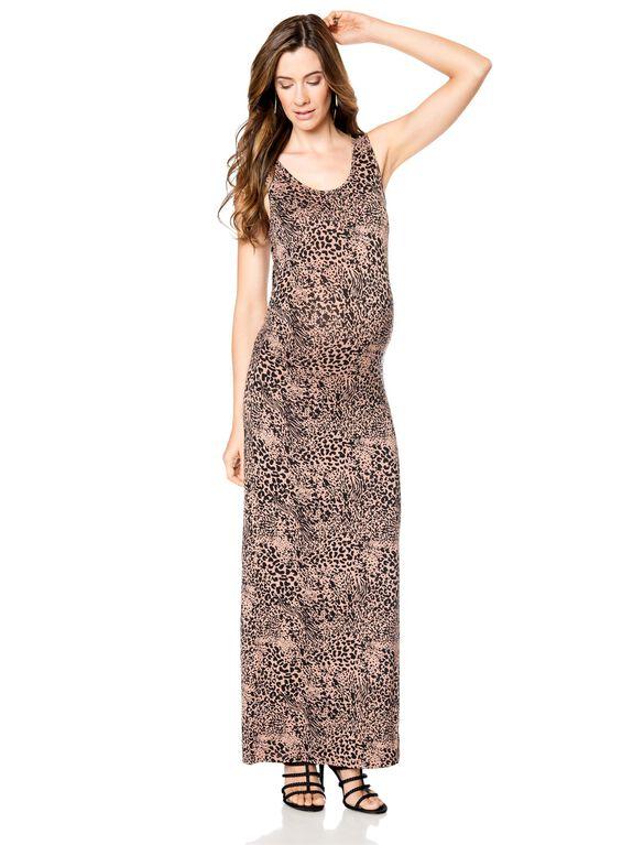 Ruched Maternity Maxi Dress, Camel Animalistic