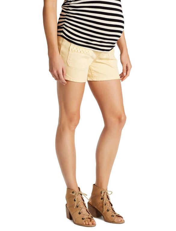 Jessica Simpson Secret Fit Belly Patch Pocket Maternity Shorts, Yellow