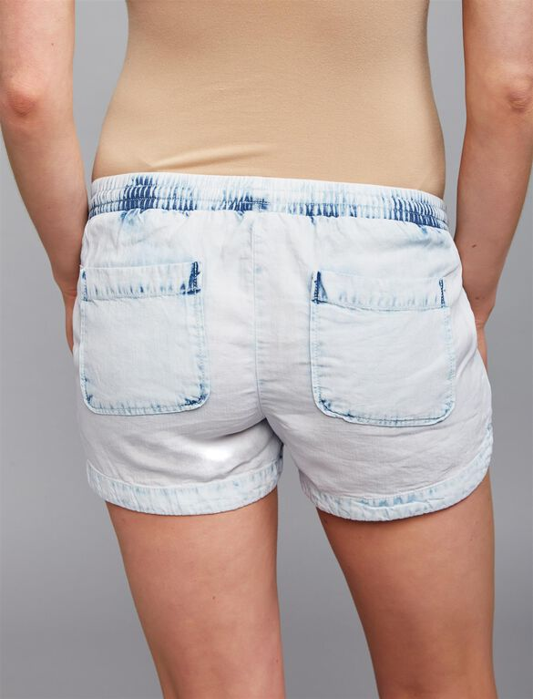 Under Belly Chambray Maternity Shorts, White Wash