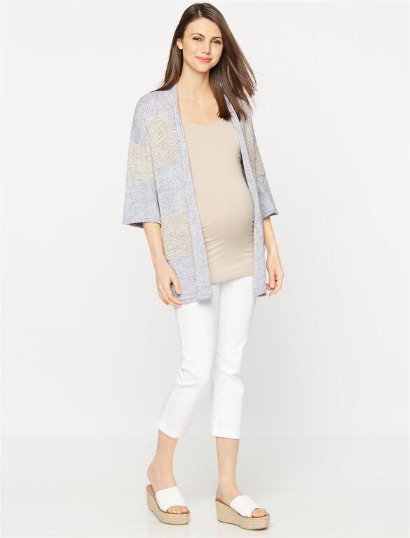 Mixed Knit Maternity Cardigan, Blue/Gray Stripe