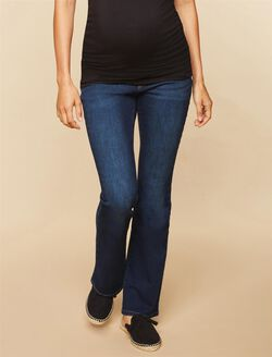 Petite Secret Fit Belly Stretch Boot Cut Maternity Jeans, Dark Wash