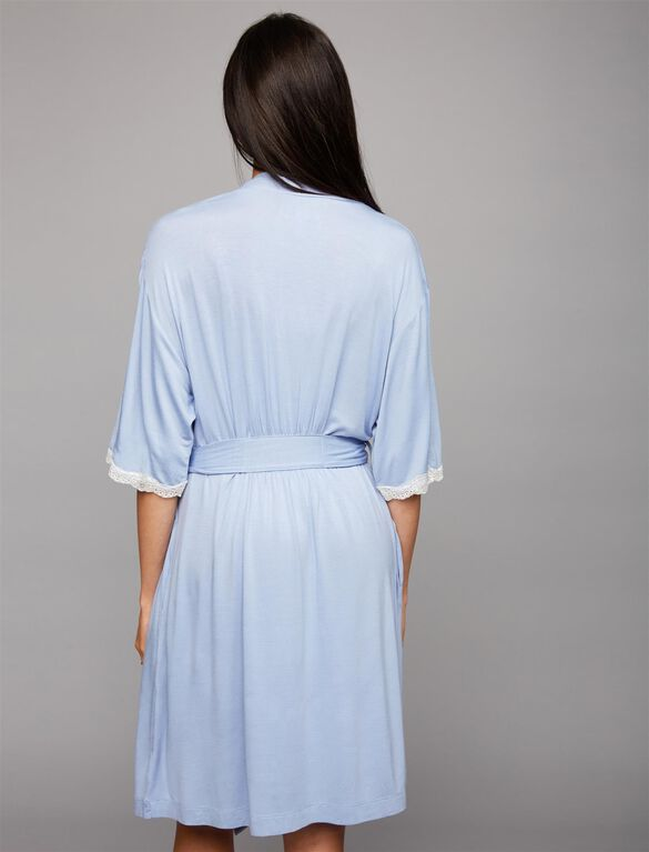 Clip Down Nursing Nightgown and Robe- Blue Stripe, Pearled Ivory/Brunnera Blue Stripe