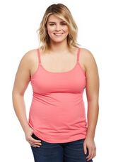 Plus Size Nursing Clip Down Cami- Rose Pink, Camellia Rose Pink