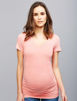 V Scoop Neck Side Ruched Maternity Tee, Soft Coral