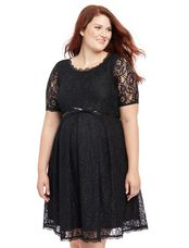 Plus Size Belted Lace Maternity Dress, Black
