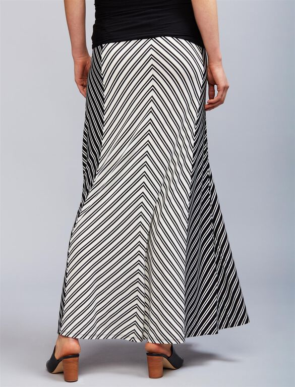 Secret Fit Belly Striped Maternity Maxi Skirt, Black/White Stripe