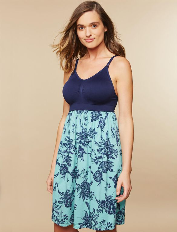 Seamless Bodice Nursing Nightgown- Floral, Navy Green Floral