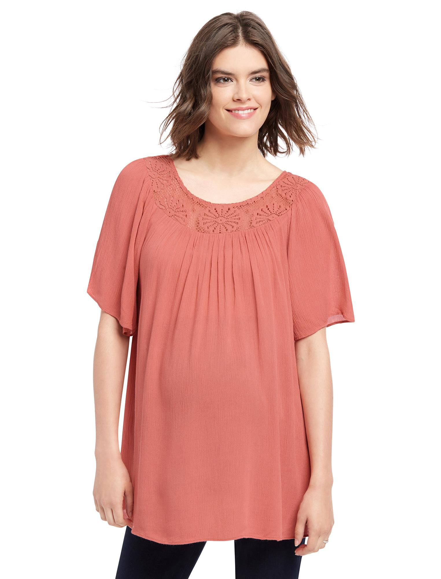 Lace Neckline Maternity Blouse