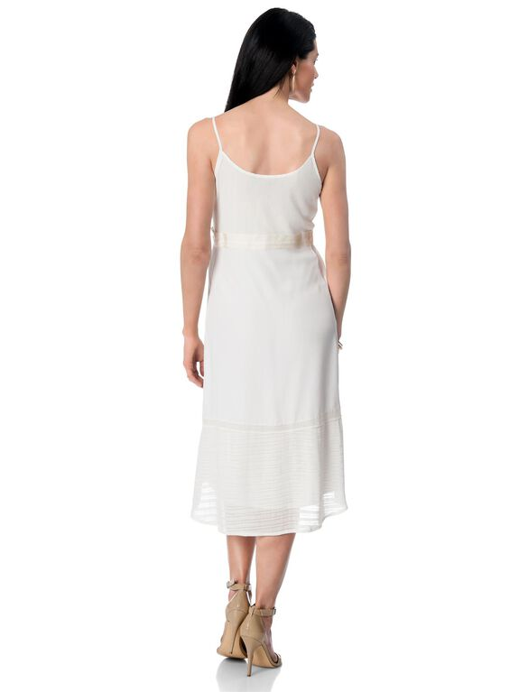 High-low Hem Maternity Dress, White