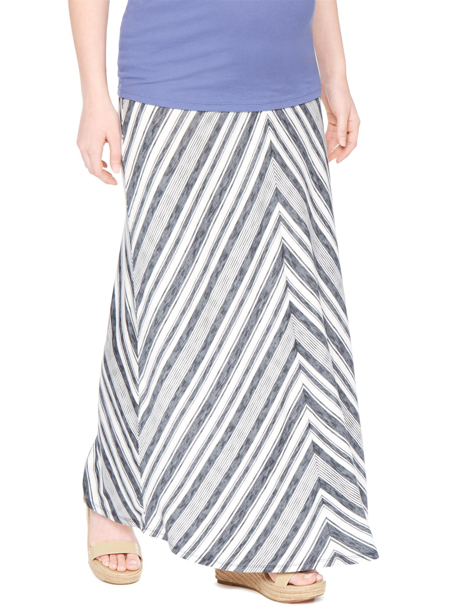 Fold Over Belly Maternity Maxi Skirt- Grey/White Stripe