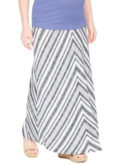 Fold Over Belly Maternity Maxi Skirt- Grey/White Stripe, Grey/White Stripe