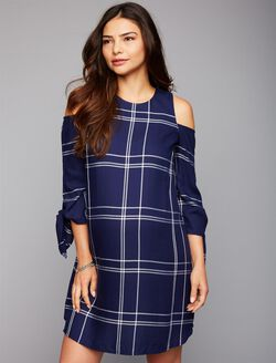 Cold Shoulder Tie Sleeve Maternity Dress, Navy Plaid