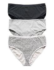 Plus Size Maternity Hi-Cut Panties (3 Pack)- Dot/Animal, Gray/Animal/Bw Dot
