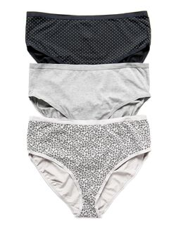 Plus Size Maternity Hi-Cut Panties (3 Pack)- Dot/Animal, Gray/Animal/Bw Dot