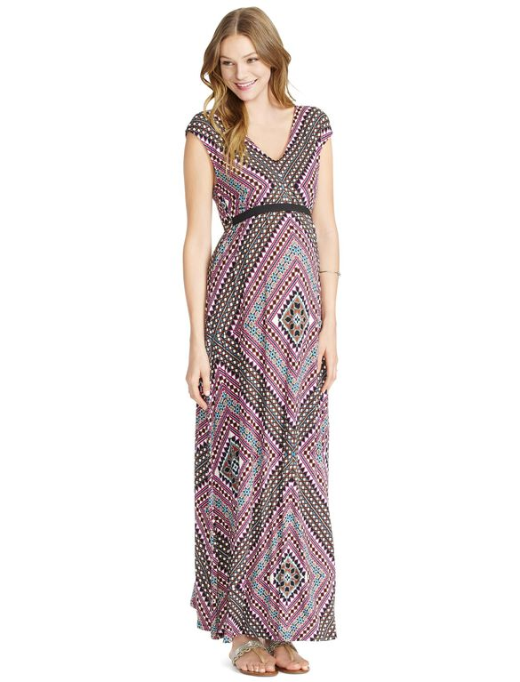Jessica Simpson Tie Detail Maternity Maxi Dress, Multi Print