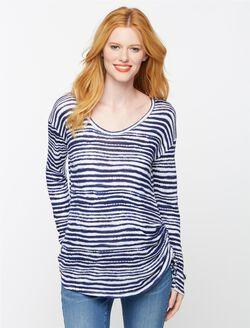 Splendid Side Tie Maternity T Shirt, Navy/White Stripe