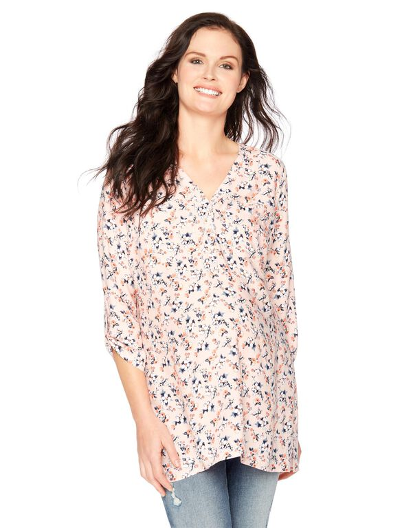 Two Pocket Button Front Maternity Shirt- Floral, Lavendar