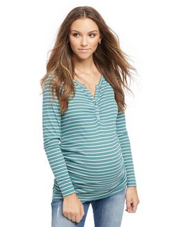 Henley Maternity T Shirt, Green/White Stripe