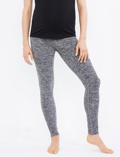 Beyond The Bump Hug The Belly Long Maternity Leggings- Black/White Spacedye, Black/White Spacedye
