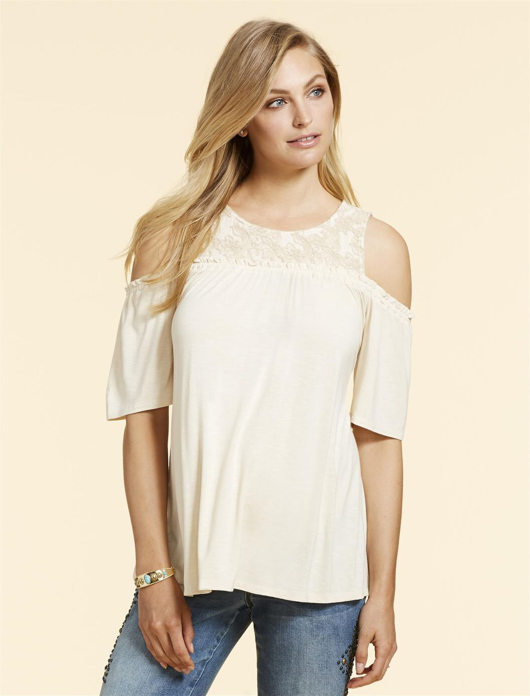Jessica Simpson Cold Shoulder Maternity Top at Motherhood Maternity in Victor, NY   Tuggl