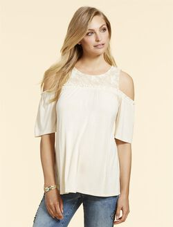 Jessica Simpson Cold Shoulder Maternity Top, Angora