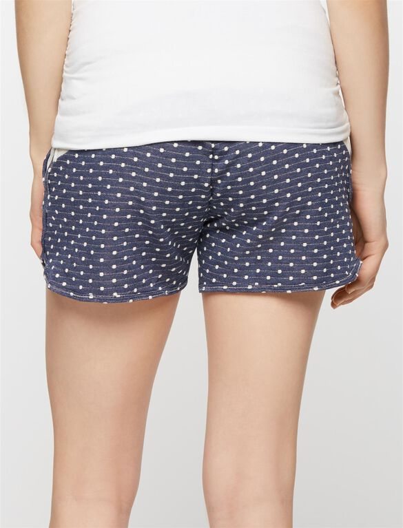 Pull On Style Maternity Shorts, Navy/White Dot