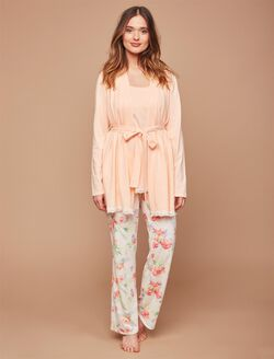 Lace Trim 3 Piece Maternity Pajama Set, Tropical Print