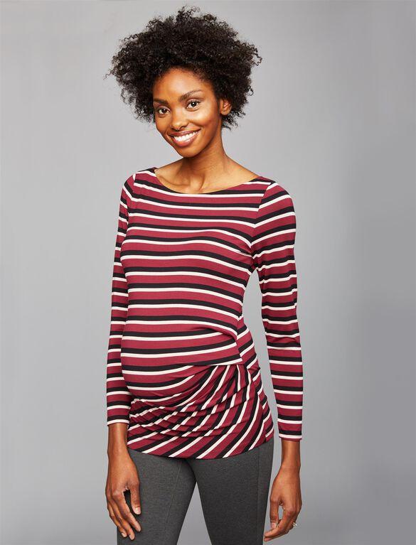 Maternity Top, Burgundy Stripe