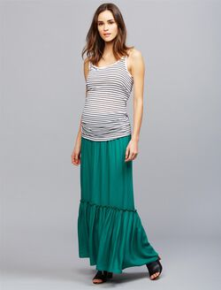 Under Belly Ruffle Hem Maternity Maxi Skirt, Shady Green