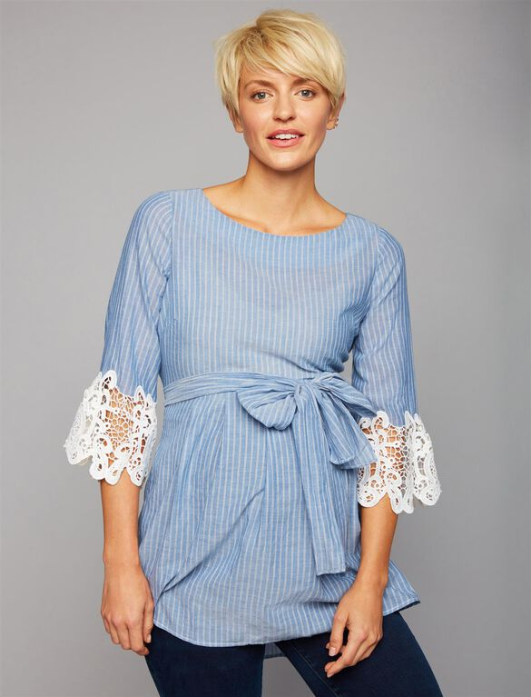 Luxe Essentials Lace Sleeve Maternity Blouse, Blue Pinstripe
