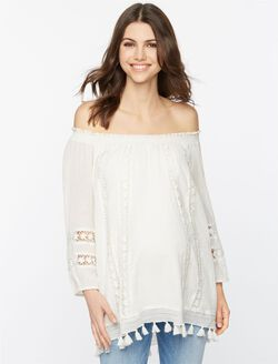 Lace And Tassel Trim Maternity Top, White