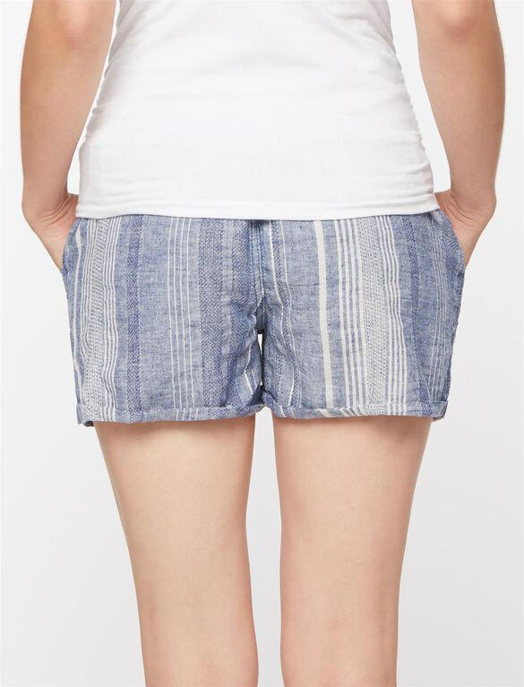 Blank NYC Secret Fit Belly Linen Striped Maternity Shorts, Blue/White Stripe
