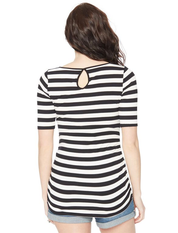 Keyhole Side Ruched Maternity Tee- Stripe, Wht/Blk Stripe