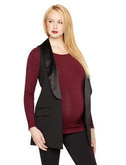 Rachel Zoe Front Pocket Ponte Maternity Vest, Black