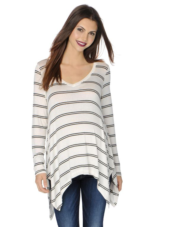 Splendid Sharkbite Hem Maternity Sweater, White/Black