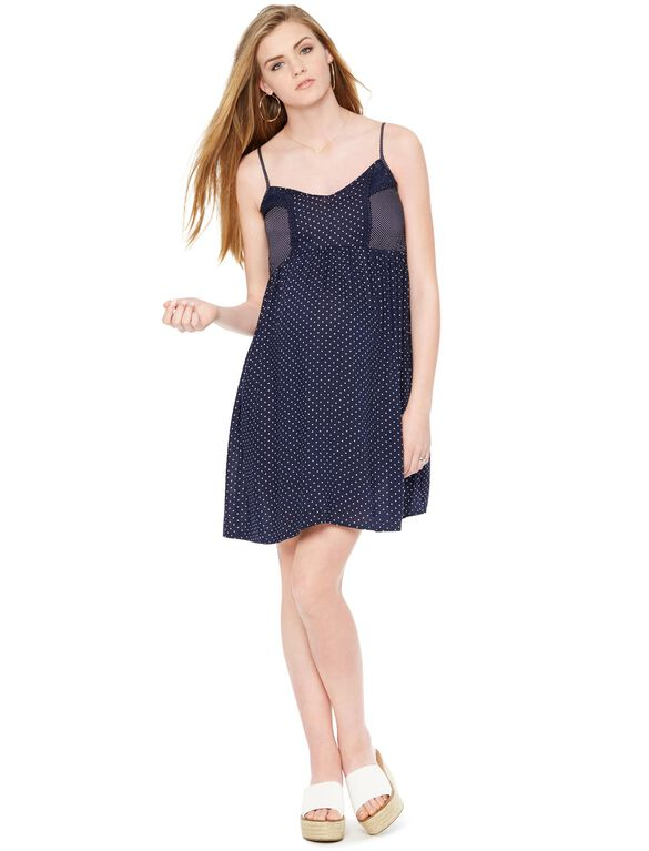 Empire Seam Maternity Dress- Dot Print, Navy/White