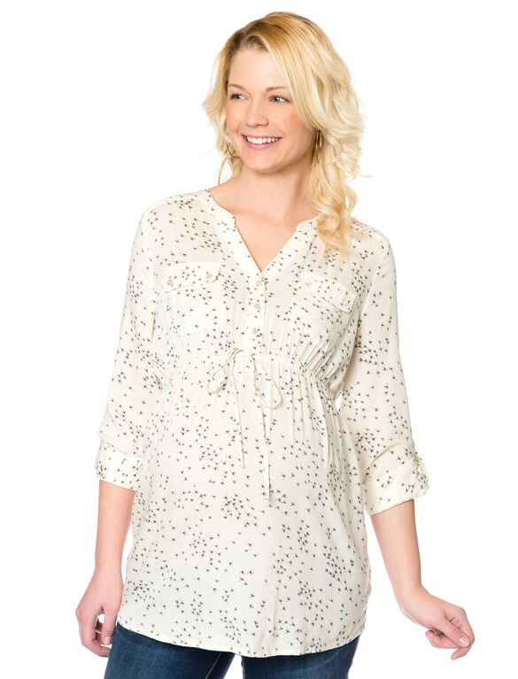 Tie Front Maternity Tunic, Wish Print