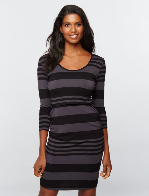 Ripe Lift Up Super Soft Nursing Dress- Striped, Stripe