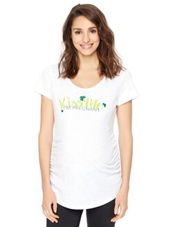 St. Patrick's Day Irish Kiss Me Maternity Tee, White