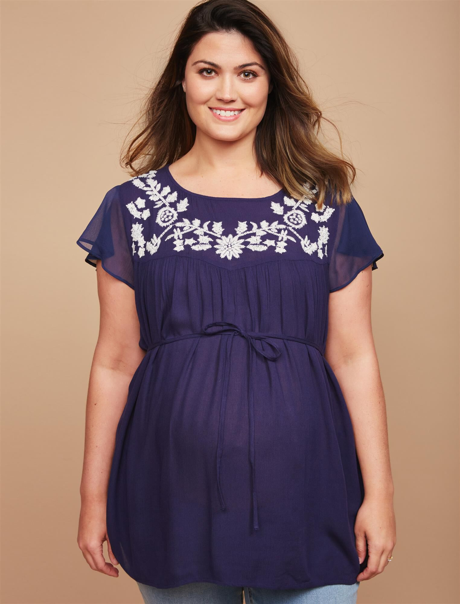 Plus Size Embroidery Maternity Blouse