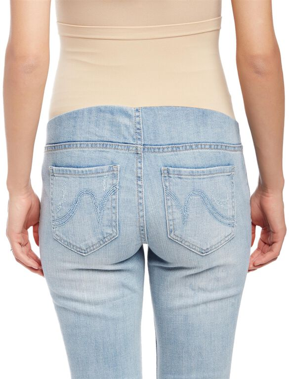 Shop Old Navy's Maternity Full-Panel Skinny Jeans: Ultra-comfortable, seamless tricot panel provides a smooth appearance.,Faux fly.,Scoop pockets and coin pocket in front; patch pockets in back.,Dark denim wash, with comfortable stretch and contrast topstitching.,Great for the 2nd & 3rd trimesters.