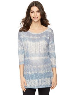 Hacci Back Keyhole Maternity Top, Blue/Grey Tie Dye
