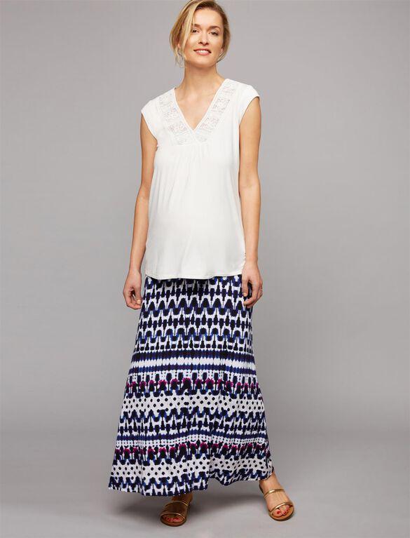Under Belly Side Slit Maternity Skirt, Tye Dye Print