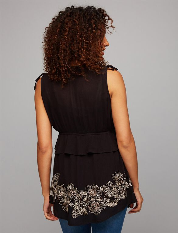 Embroidery Maternity Top, Black