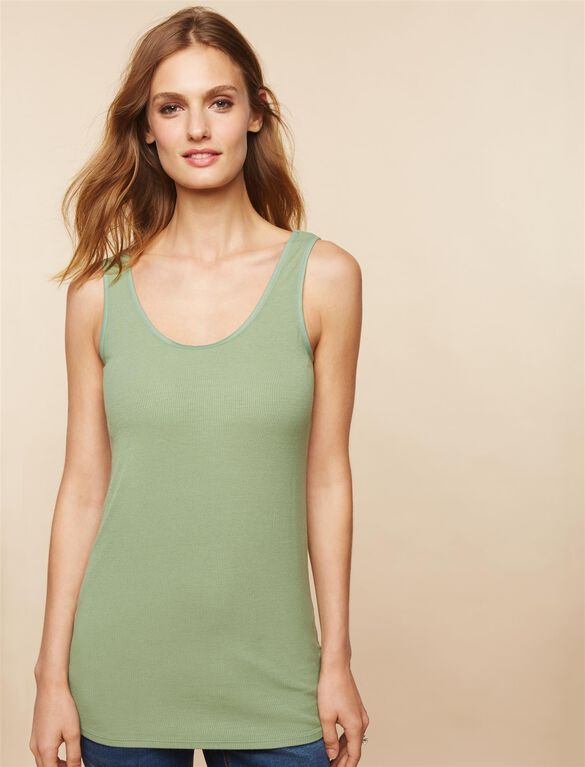 Pull Down Rib Knit Nursing Tank, Hedge Green