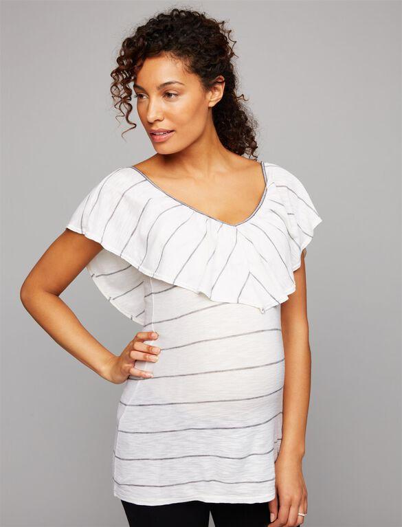 Splendid Ruffle Front Maternity Top, White Stripe
